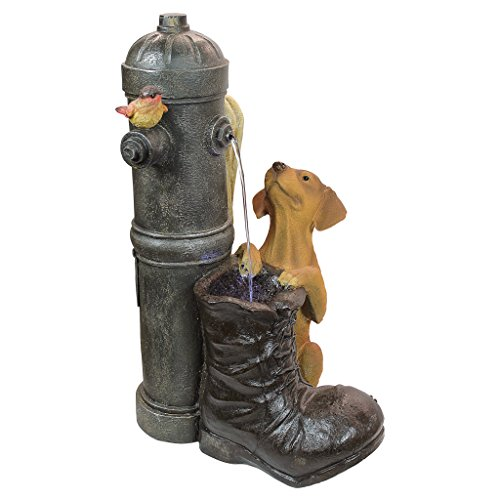 Design Toscano SS10494 Water Fountain with LED Light - Fire Hydrant Pooch Garden Decor Dog Fountain - Outdoor Water Feature,full color