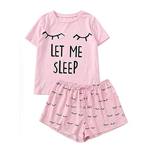 MLOPPTE Pijama,Conjunto de Pijama con Estampado de Letras Camiseta con Estampado de Manga Corta para Mujer Ropa de Dormir C
