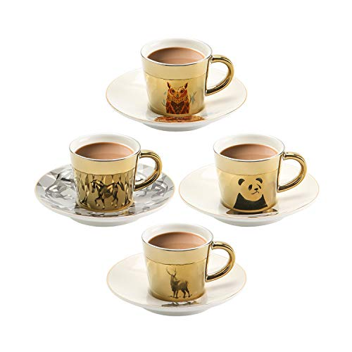 Mirage Mirror Cups Creativity Coffee Cup and Saucer Set of 4 Hand-made mirror cup with Unique design Saucers Coffee Mug, Romantic Gift for your Best love (Gold, 90ml)…