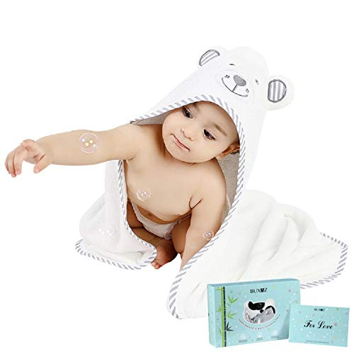 LULLABYZ Ultra Soft Organic Bamboo 3 in 1 Black and White Bear Baby Hooded Bath Towel/Wrapper/Bathrobe Gown, 1 Wash Cloth and Gift Card Combo for Newborn Baby, Better Than Cotton