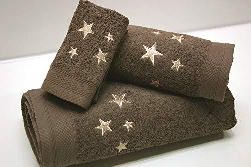 Montse Interiors Juego de Toallas Bordadas Estrellas 3 Piezas 550gr (Humo Big Stars Nº14)
