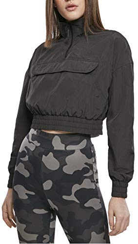 Urban Classics Damen Ladies Cropped Crinkle Nylon Pull Over Jacket Windbreaker, Black, XS