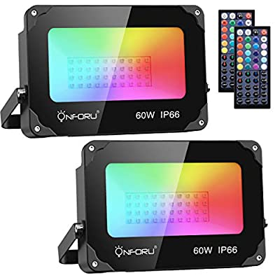 Onforu 2 Pack 60W RGB LED Flood Lights with Remote Control, IP66 Waterproof Dimmable Color Changing Floodlight, 16 Colors 4 Modes Wall Washer Light, Outdoor Decorative Garden Stage Landscape Lighting