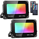 Onforu 2 Pack 60W LED RGB Flood Lights, Dimmable Color Changing Floodlight with 44 Keys Remote, IP66 Waterproof Outdoor Wall Washer Light with 20 Colors,6 Modes, Timing for Indoor, Party, Garden