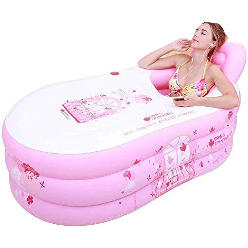 YLKCU Tina para niños Adultos bañera Plegable Inflable para el hogar Tina de baño Individual bañera de Cuerpo Completo Tamaño Grande y Mediano (Color: Rosa, Tamaño: L)