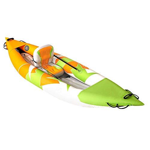 FZYE Kayak Hinchable, con Remos de Aleación de Aluminio de Doble Cabezal, Sentado en él, 1 Asiento, 312 X 80 Cm, Carga Máxima 95 Kg
