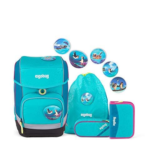 Ergobag cubo Hula HoopBär, ergonomischer Schulrucksack, Set 5-teilig, 19 Liter, 1.100 g, blau