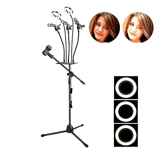 LED dimbaar make-up ringlicht, voor live-uitzending en video selfie-licht met statief en gsm-houder 3 kleuren en 10 helderheid,B