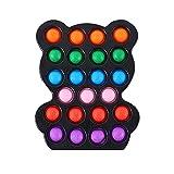 JIJK Lindo oso Push Pop Sensory Fidget Toy - Mini silicona de mano de burbujas Fidgets Popper Anti-Ansiedad Alivio del estrés Juguete para niños pequeños TDAH autismo