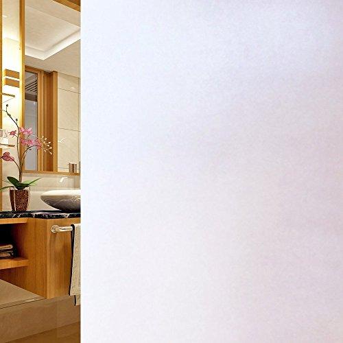 DUOFIRE Privatsphäre Fensterfolie Dekorfolie Sichtschutzfolie Ohne Kleber Selbstklebend Glas Fenster Aufkleber Anti-UV Folie (90cm X 300cm, DS001W) EINWEGVerpackung