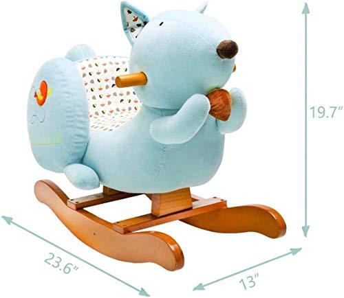 Labebe Baby Schaukelpferd Holz, Schaukelpferd Plüsch, Eichhörnchen Form Schaukelpferd Blau für Baby 1-3 Jahre Alt, Schaukel Baby/Schaukel Pferd/Indoor Schaukel&Garten/Schaukel Blau/Schaukeltier Blau - 7