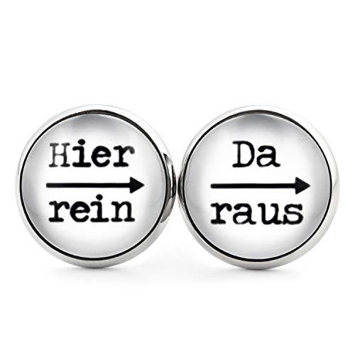 SCHMUCKZUCKER Damen Herren Unisex Ohrstecker mit Spruch Hier rein - da raus Lustige Edelstahl Ohrringe Silber Weiß 14mm
