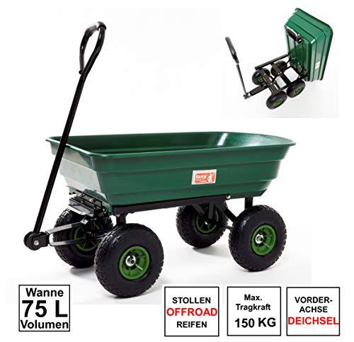 Izzy Bollerwagen kippbar Gartenwagen Handwagen Gartenkarre Transportwagen Handkarren Luftreifen (Gartenwagen kippbar 75L Wanne 300kg)
