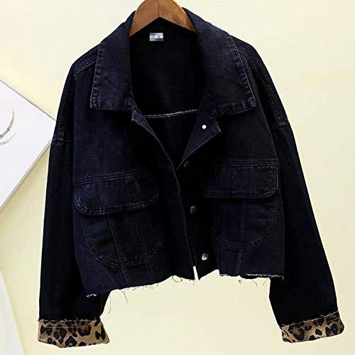 NSWTKL Denim Jas Korte Lengte Denim Jassen Lange Mouw High Street Jeans Crop Jas Vrouwen Mode Jas Vrouwen Luipaard Ms Jas