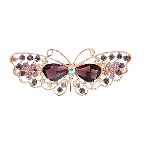 Frauen Kristall Strass Schmetterling Haarspange Clip Haarnadel Schleife Haarschmuck - Lila