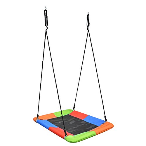 """Swinging Monkey Giant Mat Platform Swing in Vibrant Rainbow Tree Swing 40"""" x 30"""" 400 lb Weight Capacity Waterproof Fabric Reinforced Steel Frame No Hassle Adjustable Ropes Easy Install"""