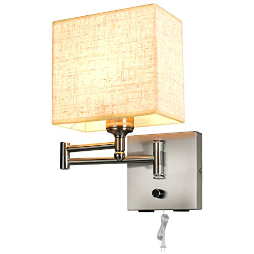 Alta Ilumina Aplique de pared de 7.1 pulgadas regulable libremente, lámpara de pared con 2 puertos USB, brazo oscilante libremente,...