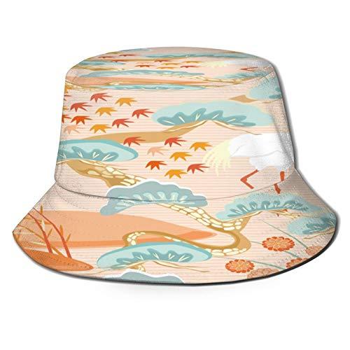 PUIO Sombrero de Pesca,Patrones Sin Fisuras con Aves Grulla Garza Japonés,Senderismo para Hombres y Mujeres al Aire Libre Sombrero de Cubo Sombrero para el Sol