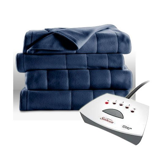 Sunbeam Fleece Heated Blanket - Twin Blue