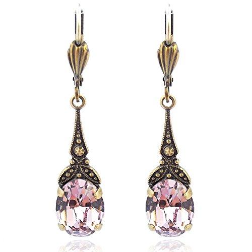 Jugendstil Ohrringe mit Kristallen von Swarovski® Gold Lila Violett NOBEL SCHMUCK
