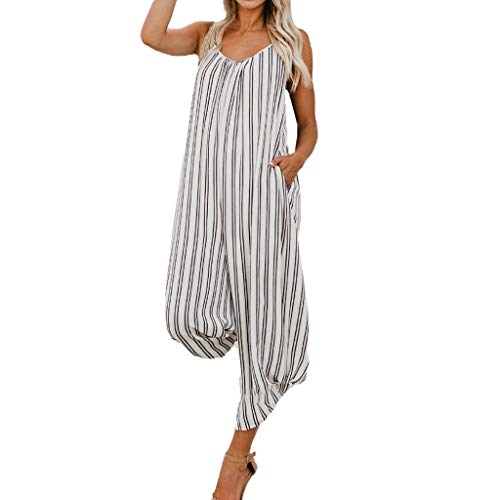Zlolia Women's Striped Camisole Jumpsuits Long Wide Leg Deep V Backless Straight Jumpsuit Rompers with Pocket