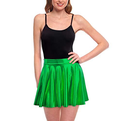 Faldas Mujer Cortas Plisada Verde Metalizada Brillante [Falda Skater Patinaje]Talla S Multifuncin Disfraz Baile