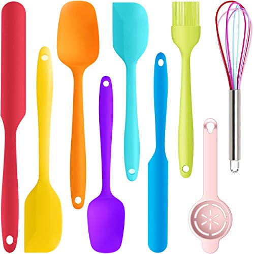 9 Piece Silicone Spatula Set - 446°F Heat Resistant Rubber Spatula .Kitchen Spatulas.Plastic Spatula. for Cooking, Baking, Mixing. Nonstick Cookware friendly. BPA-Free,Dishwasher Safe (Mixed Colors)