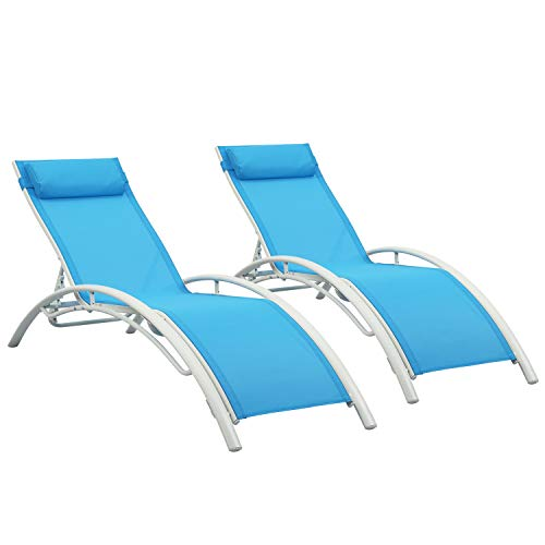 Patio Chaise Lounge Sets,Outdoor 4 Adjustable Reclining Chaise Lounge Chair,with Removable Pillow (Set of 2)