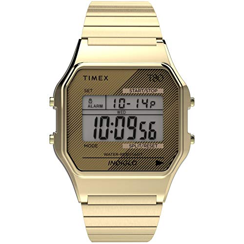 Timex T80 34mm Watch – Gold-Tone with Stainless Steel Expansion Band