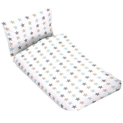 Casa Colori Ropa de cama infantil de algodón, 2 piezas, funda nórdica de 100 x 135 cm, funda de almohada de 40 x 60 cm, color blanco con estrellas