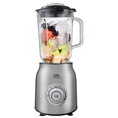 Countertop Blender UIO, 600W Blenders for Kitchen, Blender for Shakes and Smoothies, 304 Stainless Steel Blades, Infinite Speed Control, 60 oz Glass Pitcher