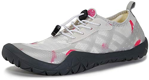 Gaatpot Escarpines de Surf para Mujer Hombre Zapatos de Playa Zapatos de Agua Barefoot Deporte Secado Rápido Yoga Aptitud Aire Libre Blanco 38EU