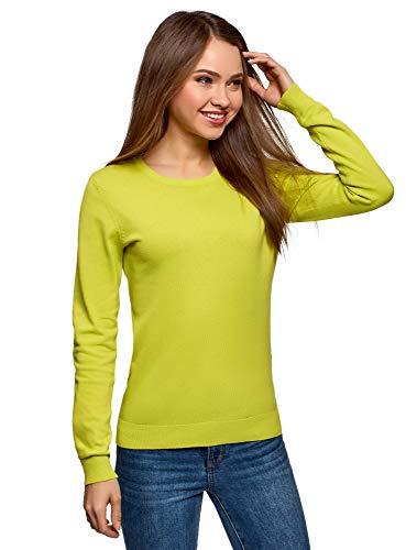 oodji Ultra Mujer Jersey Básico con Cuello Redondo, Verde, ES 38 / S