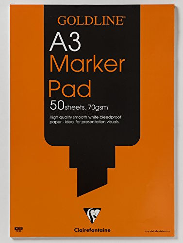 Clairefontaine A3 Goldline Marker Pad 70 GSM Bleedproof 50 Sheets