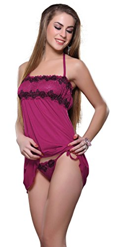 Hot & Sexy Women Lencería Robe Lace Nightwear Babydoll Sets de 2 Sujetadores Penty Sexy Women Wear Wedding Honey Moon Negro Night Wear (Purpura)