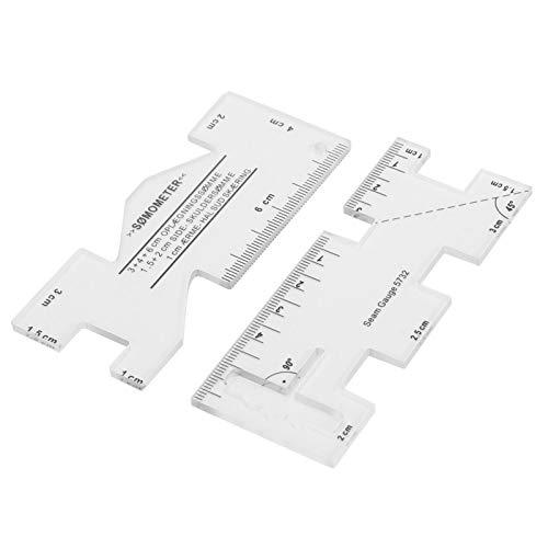 Escala claramente visible, regla de trabajo de parche de 2 piezas, se puede usar con un cuchillo de corte o un cuchillo de volante como regla de corte, regla de medida artesanal