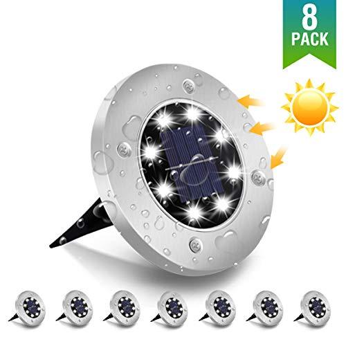 MOSTOP solar bodenleuchten,8 leds solarlampen gartenleuchten für außen ,ip65 wasserdicht für Rasen, Patio, Hof,6000K Kaltweiß Solarlicht Garten Licht,8 Stück[Energieklasse A+]
