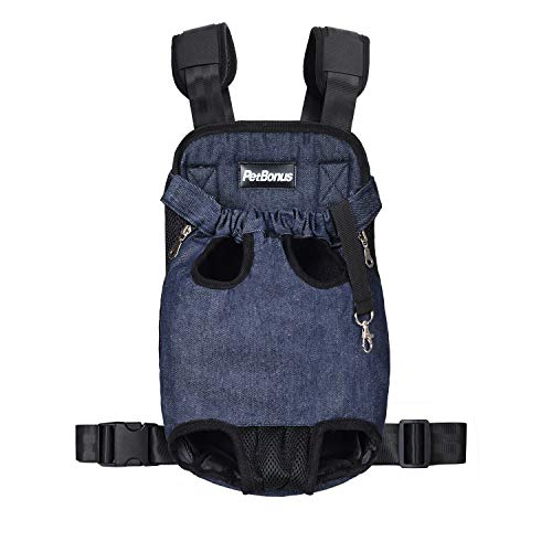 PetBonus Denim Front Kangaroo Pouch Dog Carrier, Wide Straps Shoulder Pads, Adjustable Legs Out Pet Puppy Backpack Carrier Walking, Travel, Hiking, Camping, Blue, Medium