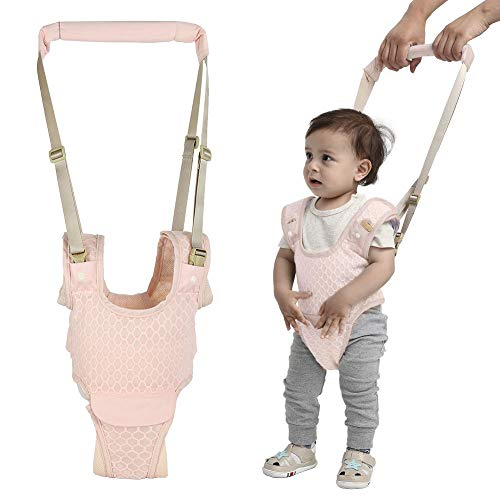 Handheld Baby Walking Harness for Kids, Adjustable Toddler Walking Assistant with Detachable Crotch, Safe Standing & Walk Learning Helper for 8+ Months Baby (Pink-Ordinary)