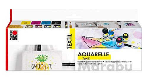 Marabu 1709000000080 Aquarelle - Kit de acuarela para tejidos claros, inodoro, resistente a la luz, mango suave, 4 botes de 15 ml, pintura textil, pincel y esponja, multicolor , color/modelo surtido