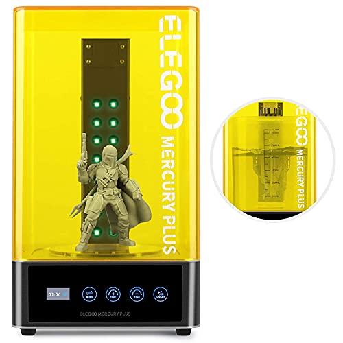 ELEGOO Mercury Plus 2 in 1 Wash and Curing Machine for LCD/DLP/SLA 3D Printed Models Resin UV Curing Box for Mars Series Photon S Photon Mono with Rotary Curing Turntable and Washing Bucket