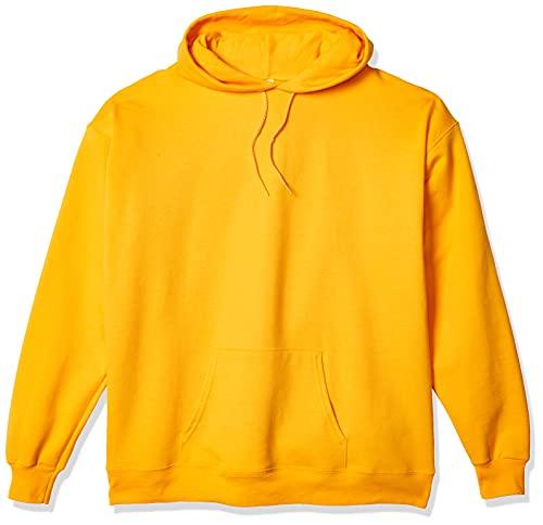 Hanes Men's Pullover Ecosmart Fleece Hooded Sweatshirt, gold, X Large