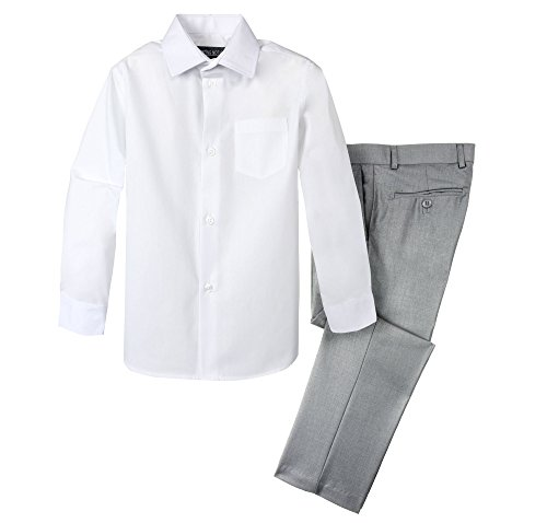 Spring Notion Boys' Dress Pants and Shirt 18M Light Grey/White