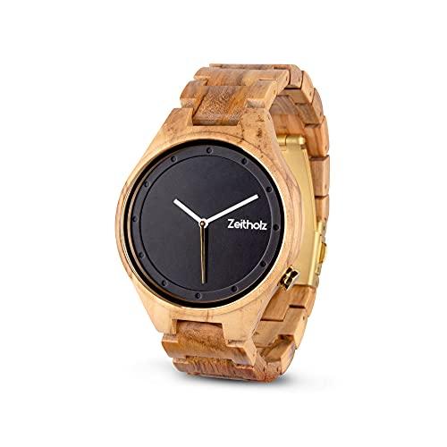 Reloj de Madera para Hombre de la Marca Zeitholz - Modelo Stolpen, Hecho a Mano de 100% de Madera de Olivo Natural y Movimiento de Cuarzo - Reloj analógico y Ligero de Madera para Hombres