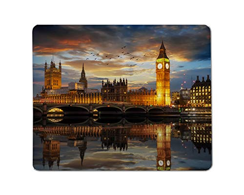 Yeuss just After Sunset Rectangular Non-Slip Mousepad The Westminster Palace and The Big Ben clocktower by The Thames River in London, United Kingdom Gaming Mouse pad 200mm x 240mm