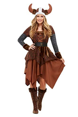 Smiffy's 50742L - Disfraz de reina bárbara vikinga, para mujer, color marrón