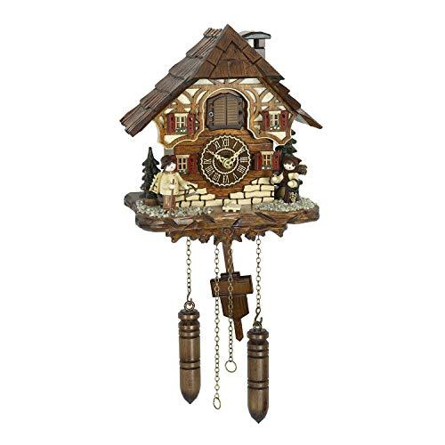 SELVA Reloj de cuco con figuras de los Montes Metálicos, de madera, 24 cm, fabricado en Alemania