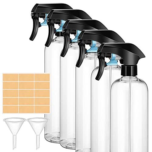 ImnBest Botella de Spray Vacías de Plásticoo 5 x 500ml, Pulverizador Agua de Gatillo Bote Spray Pulverizador para Regar Plantas de Jardín,Limpieza, Cocina…