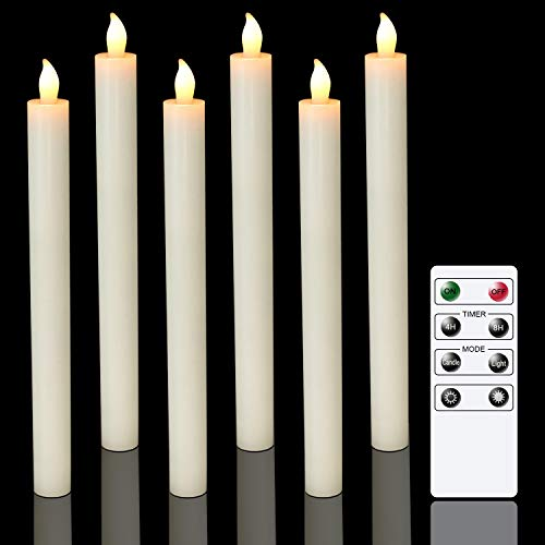 Eldnacele Flameless Taper Candles with Remote Timer, Ivory LED Flickering Tapered Candles Battery Operated Set of 6 for Party Home Wedding Decoration