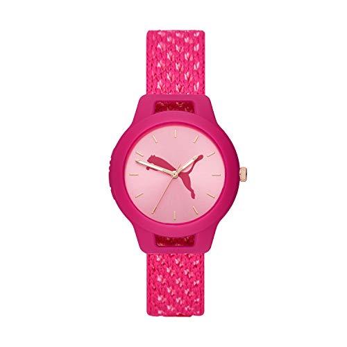 PUMA Women's Reset V1 Quartz Watch with Nylon Strap, Pink, 18 (Model: P1039)